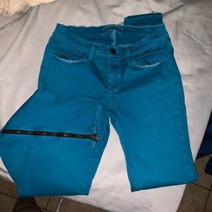 J Brand Azure blue jeans with zip bottom